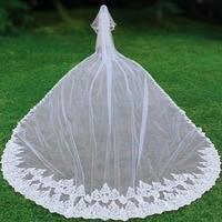 Роскошная свадебная вуаль длиной 10 метров с расческой, блестящая кружевная кромка для лица, 2 слоя, свадебная фата, аксессуары