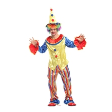 Adult Men Rainbow Circus Clownin Round Clown Costumes Halloween Purim Party Carnival Masquerade Mardi Gras Cosplay Outfit