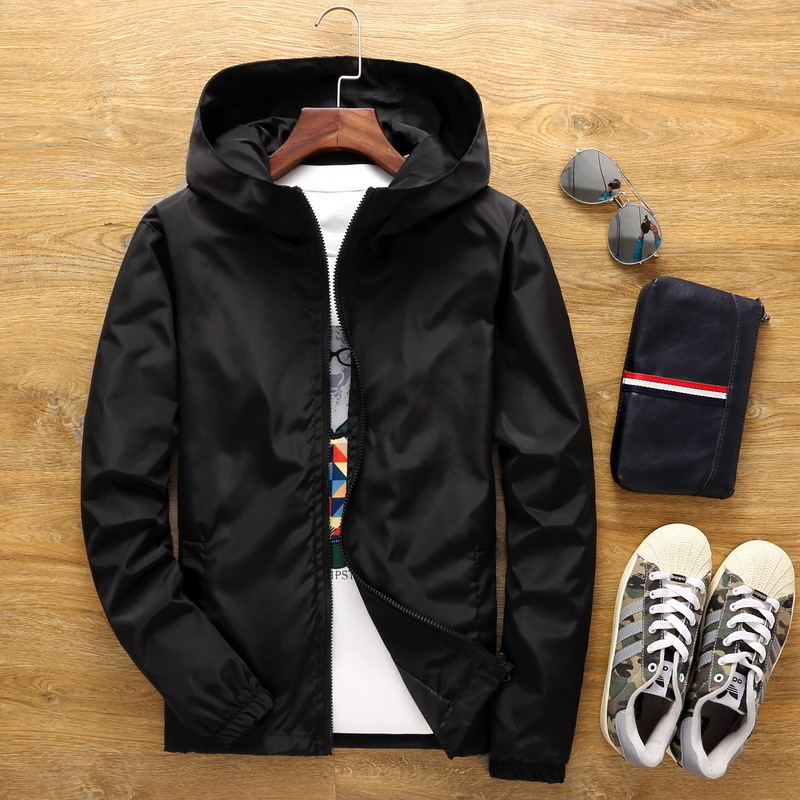Spring And Autumn Jacket Loose Coat Male 2018 New Pattern Even Hat Teenagers Leisure Time Thin Jacket Class Service Printing