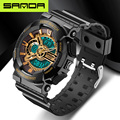 SANDA Brand Sports Waterproof Shock Resistant Mens Outdoor Quartz Watch Led Digital Army Military G Style Wristwatches Gift Box