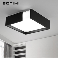 BOTIMI Modern Iron LED Ceiling Lights Modern White Black Metal Ceiling Lamp Square Lamps For Room Kitchen Lighting Fixtures