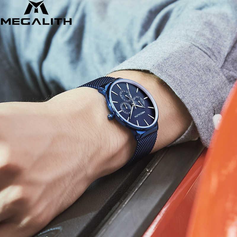 סיטונאי מחיר MEGALITH שעון Mens ספורט עמיד למים שעונים למעלה מותג יוקרה רשת רצועת הכרונוגרף תאריך קוורץ שעון לגברים