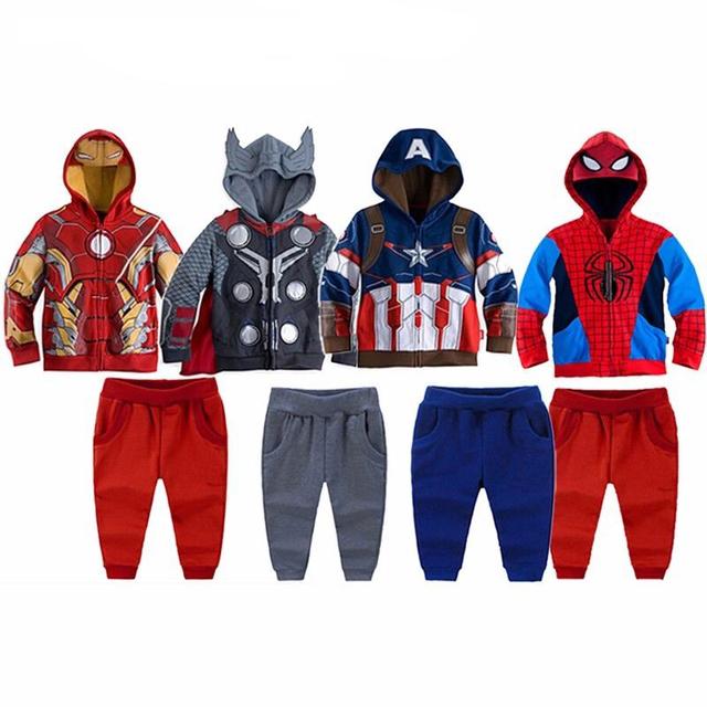 Vengadores de la ropa de los niños conjunto deporte infantil super hero hierro hombre Ocasional del Muchacho de Manga Larga Abrigos de Algodón Con Capucha + Pantalones 22