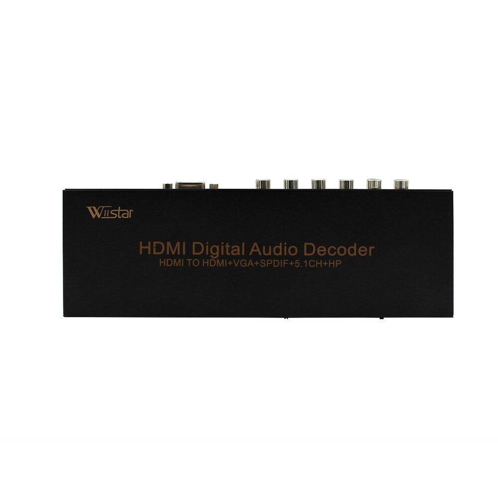 Wiistar hdmi decodificador de áudio digital hdmi para hdmi/vga/spdif/5.1 adaptador conversor de som surround frete grátis