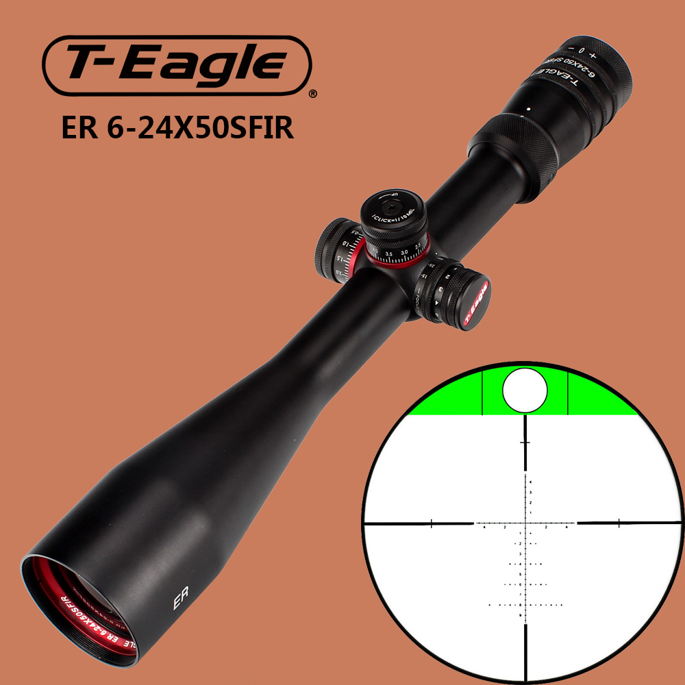 T-Eagle ER 6-24X50 SFIR Tactical Optical Sights Hunting Riflescope Glass Etched Reticle Built-in Bubb Level Scope for Rifle t eagle 6 24x50 sffle riflescope side foucs rifle scope with spirit level tactical long range rifles airsoft air gun