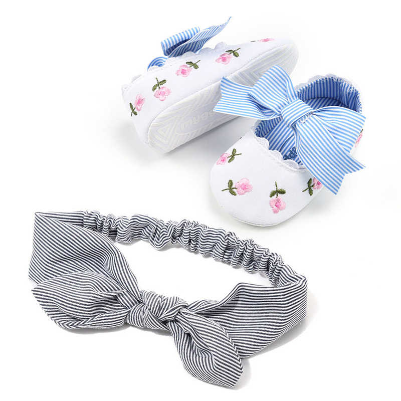 Newborn Baby Girl Floral Crib Shoes New Summer Cute Toddler Kids Princess Baby Girls Soft Sole Cotton Shoes With Headband 0-18M
