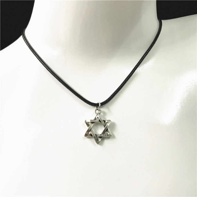 Fashion Retro Black Rope Hexagram Choker Necklace Lucky Six Star Pendant Necklace For Man Women Jewelry Wholesale