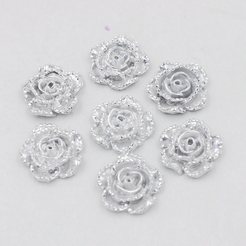 125 Pure White Acrylic Pearl FlatBack Rose Flower Cabochon 18mm Scrapbook