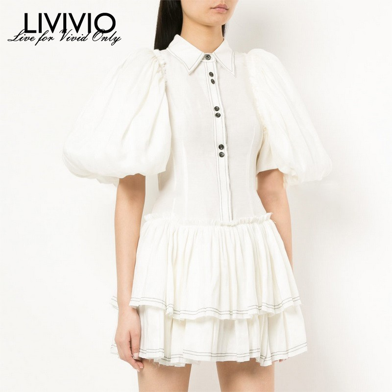 LIVIVIO Elegant Solid Women Dress Lapel Puff Sleeve Button Slim Mini Dresses Female Summer 2019
