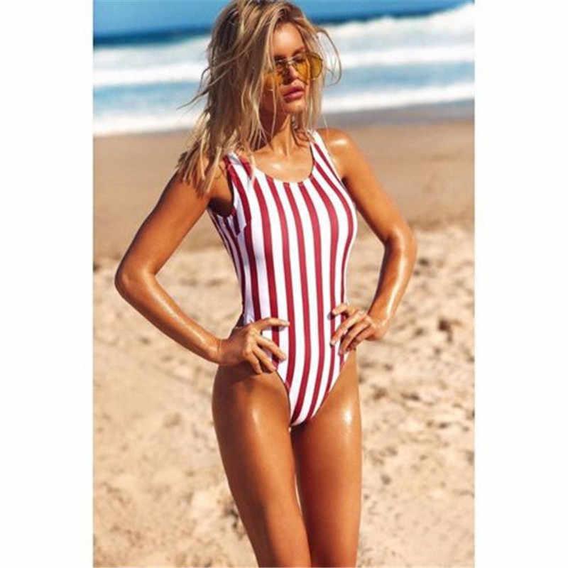 64f6d2c2efafe ... 2018 Sexy Women One-Piece Swimsuit Ladies White   Red Striped Swimwear  Swimming Costume Monokini ...