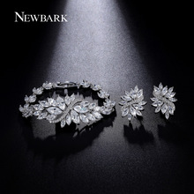 NEWBARK Lush Leaves Design Bracelet With Earrings Set Marquise Cut Cubic Zircon Jewelry Sets Best For