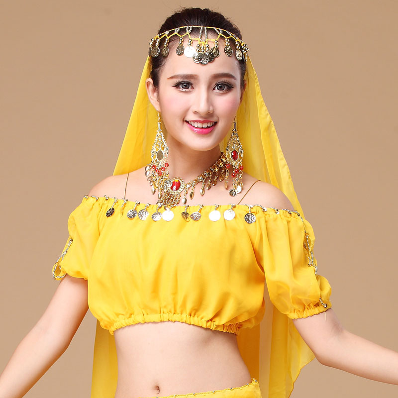 Performance Short Sleeve Belly Dance Costumes Fashion Indian Dance Clothing Chiffon Dance Clothes Belly Dance Top Shirt