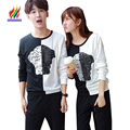 P Couples T-Shirts For Lovers Men And Women Fashion Long Sleeve Sequin Tops Casual Cute Sweet Korean Matching Couple T Shirts