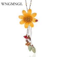 Wngmngl новый красивый кожаный цветок кулон ожерелье с божьей