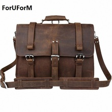 Newest High Quality Crazy Horse Mens Vintage Genuine Leather Messenger Shoulder Bag Briefcase 15.6″ Laptop Case bgs LI-645