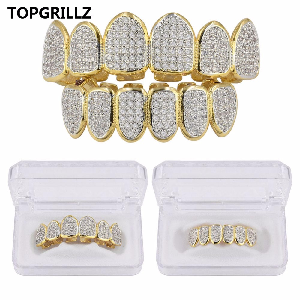 TOPGRILLZ Golden Color Plated CZ Micro Pave Exclusive Luxury Top&Bottom Gold Grillz Set Hip Hop Classic Teeth Grills