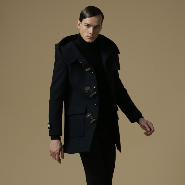 Hooded Duffle Coat for Men with Traditional Duffle Buttons Wool-in ...