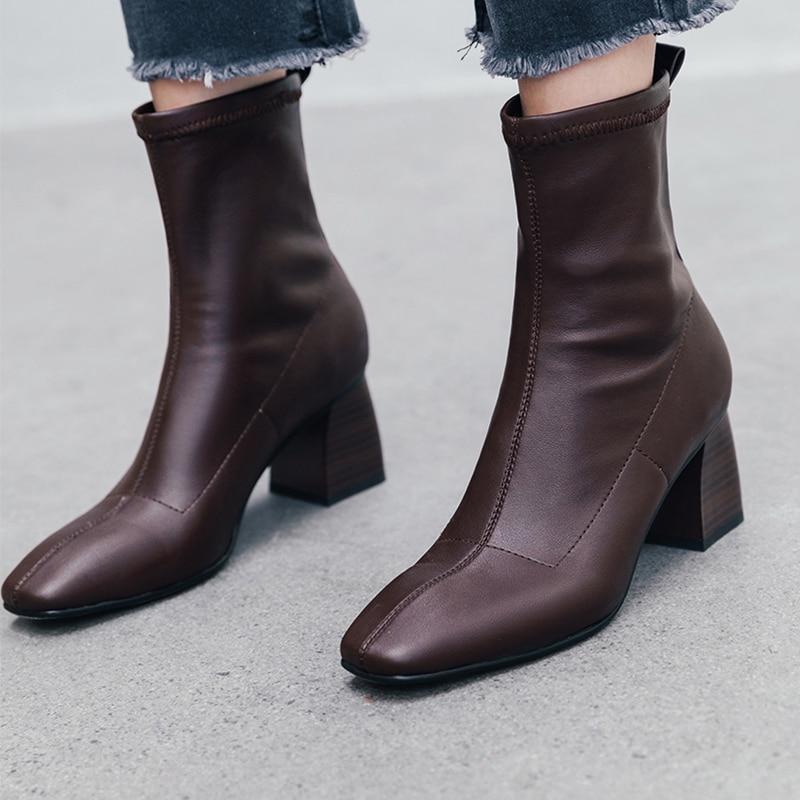 ISNOM High Heels Wood Ankle Boots Women