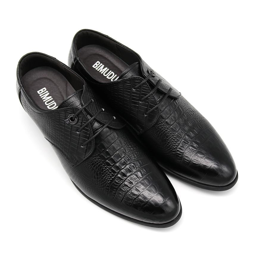 BIMUDUIYU Krokodil Stil Männer Business Kleid Schuhe Aus Echtem - Herrenschuhe - Foto 3