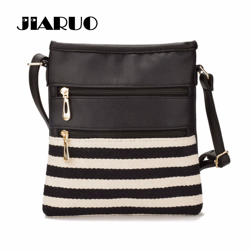 Detail Feedback Questions about JIARUO Women Leather Messenger bag Bag  Ladies Patchwork Stripe Canvas Printed Handbags Girls Casual Small Shoulder  bag on ... 7e2c3b24222bc
