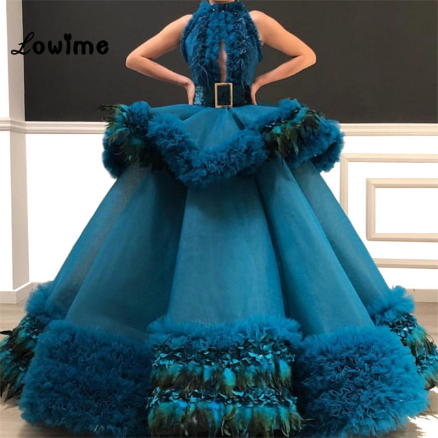 Custom Made Puffy Arabic Abendkleider Evening Dress 2019 Cloud Prom Dresses Robe De Soiree Longue Feather Tulle Party Gowns New
