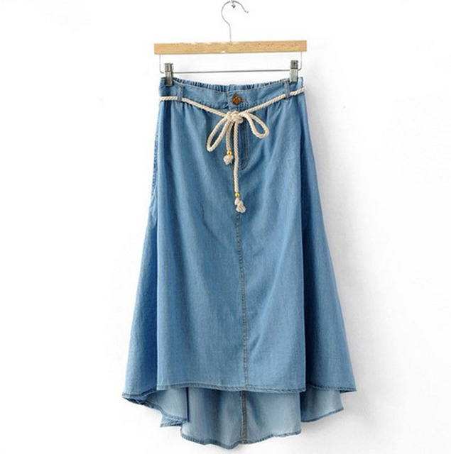 Summer Style Jean Skirt 2016  New Casual Washed Denim Skirts Asymmetrical High Waist Cotton Skirt Feminina Saia
