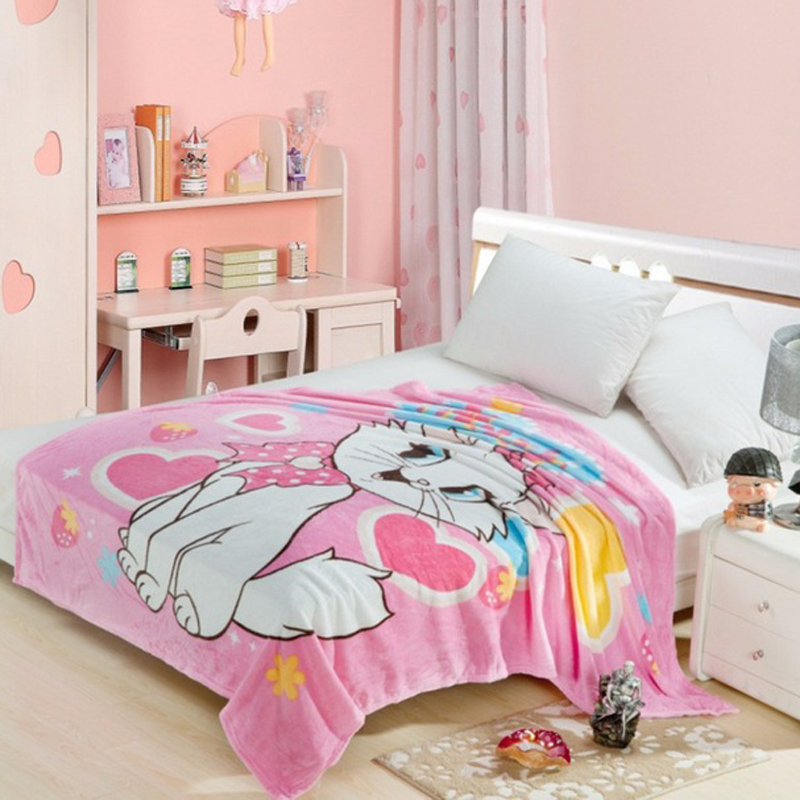 Disney Marie Cat Coral Fleece Fuzzy Blankets On Bed/Sofa Air Condition Sleeping Cover Bedding Throws Bedsheet For Kids Girls