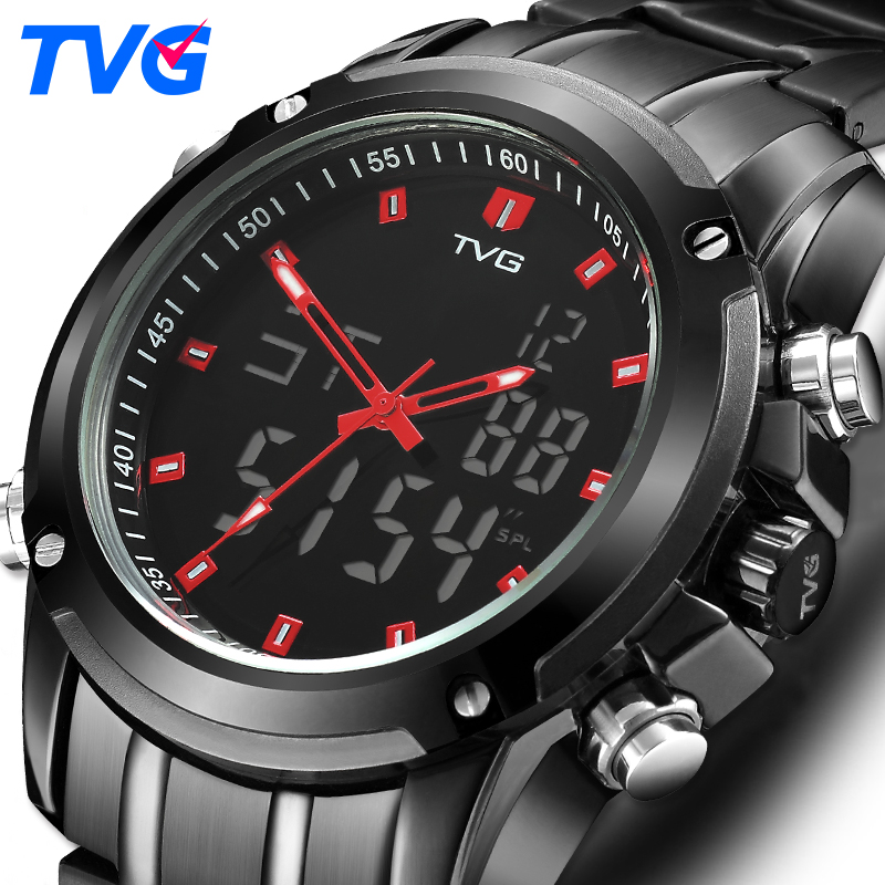TVG Mens Watches Top Brand Luxury Quartz Watch Men Sport Clock Men Digital LED Watch Army Military Wristwatch Relogio Masculino
