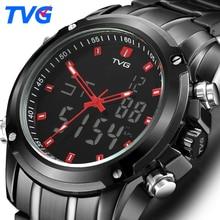 Купить с кэшбэком TVG Mens Watches Top Brand Luxury Quartz Watch Men Sport Clock Men Digital LED Watch Army Military Wristwatch Relogio Masculino