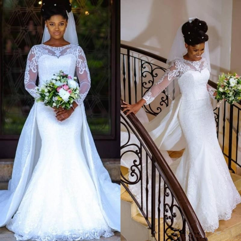 Spring Country Lace Mermaid Wedding Dress With Sleeves Detachable Train Jewel Neck White African Nigerian Lace Bridal Gown 2020
