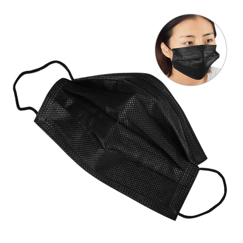 Cotton 10pcs Disposable Mask Black Masks Face Mouth 3 Medical