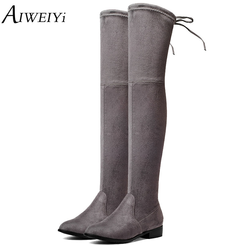 AIWEIYi Shoes Women Boots Long Spring Autumn Thigh High Boots Square Heel Lace Up Over The Knee Boots Ladies Platform Shoes цена