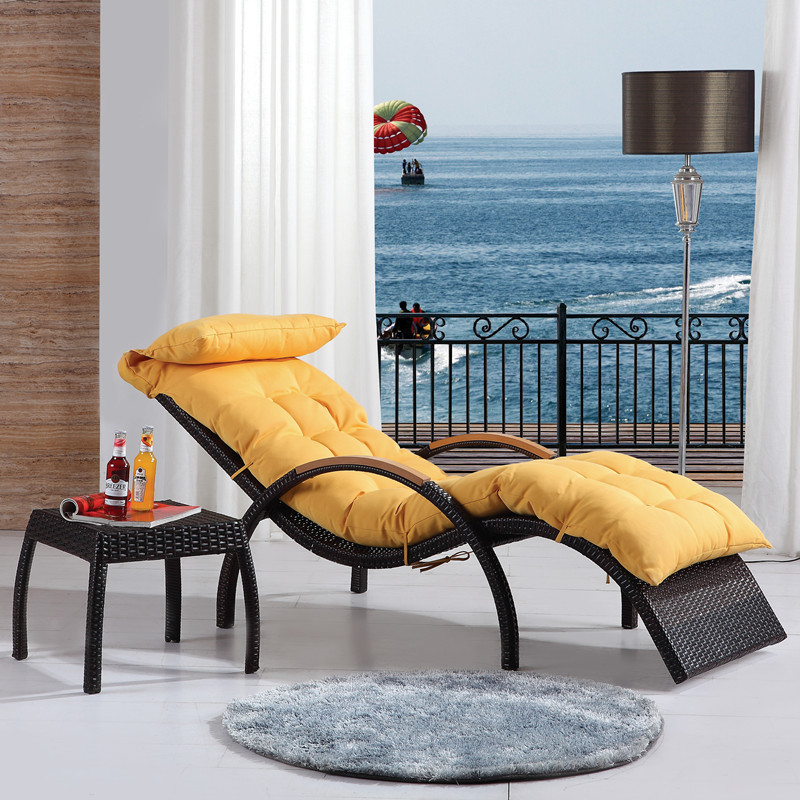 Luxury recliner chair balcony lounge chair wicker chair