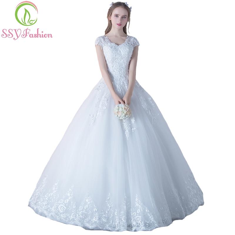 Ssyfashion Long Sleeve Wedding Dresses The Bride Elegant: SSYFashion Elegant Wedding Dress Bride White Lace V Neck