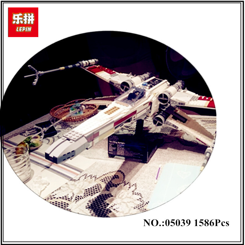 IN STOCK Lepin 05039 1586pcs Genuine Star Series The X-wing Red Five Starfighter Wars Set Building Blocks Bricks Toys 10240 Gift lepin 05040 star wars y wing attack starfighter model building kits blocks brick toys compatiable with lego kid gift set