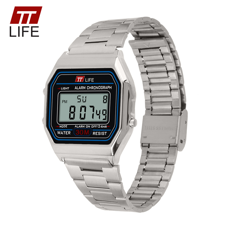TTLIFE Military Waterproof Watch Men Gold Sliver Fashion Business LED Digital Wrist Women Watches Day Date Stopwatch Clock TS09