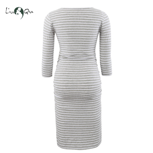 Image 5 - Pack of 3pcs Side Ruched Maternity Dresses 3 quarter Sleeve Bodycon Pregnancy Dress Wrap Maternity Dresses for Photo Shoot