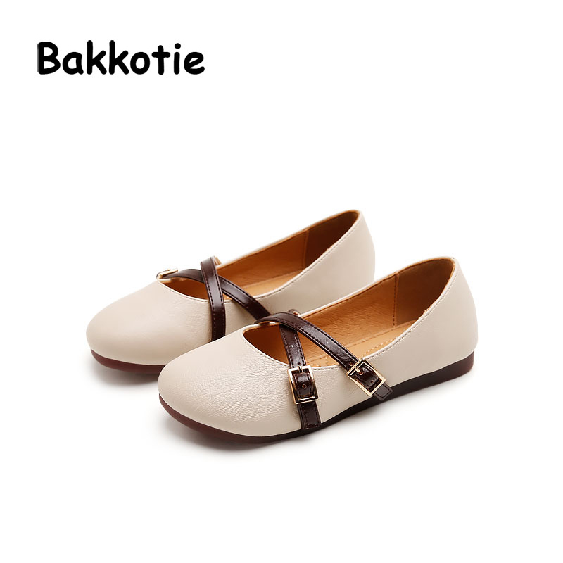 Bakkotie 2017 New Fashion Autumn Baby Retro Princess Shoe PU Leather Kid Girl Brand Dance Shoe Soft Breathable Bandage Slip On