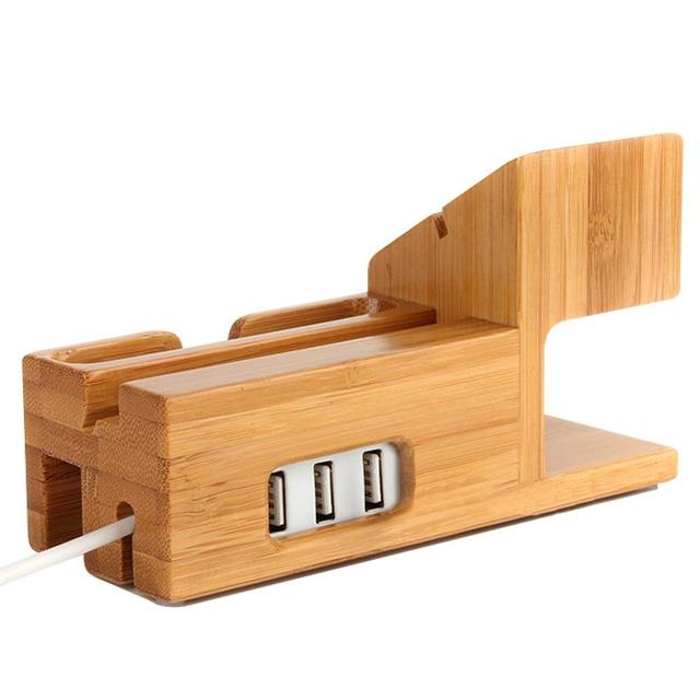 Bamboo Wood 3 Usb Ports Desk Stand Charger Charging Station Holder For Iphone 7