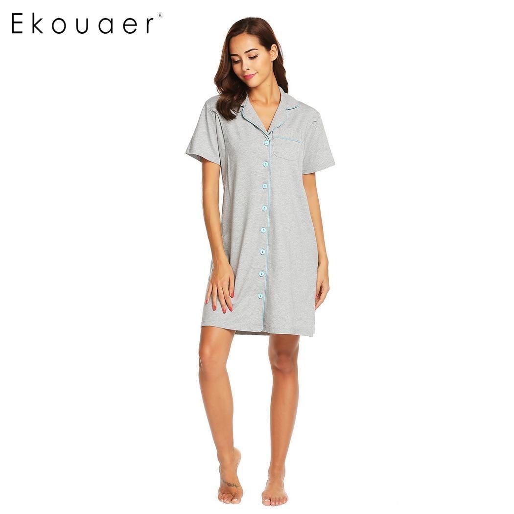 Ekouaer Women Cotton Sleepshirts Nightgown Chemise Nightdress ...