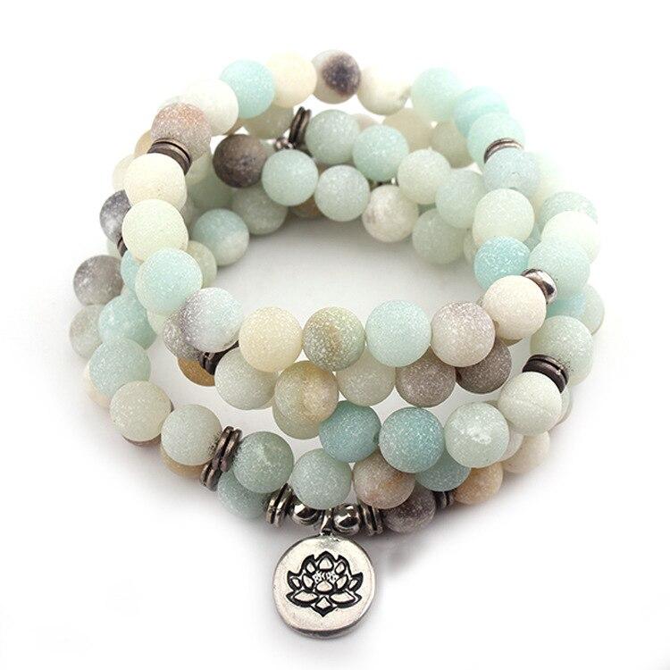DIEZI Mode Neue Design Frauen Männer Amazonit 108 Mala Perlen Lotus Charme Strang Armband Halskette Yoga Armband
