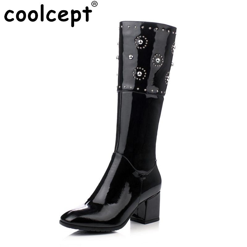 Brand Women Genuine Real Leather Knee Boots Winter Boot Sexy Square Heel Round Toe Zipper Fashion Women Boots Shoes Size 33-40 vinlle women boot square low heel pu leather rivets zipper solid ankle boots western style round lady motorcycle boot size 34 43