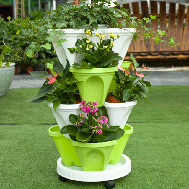 3layer Stackable Planter Flowerpot And A Pot Tray With Wheels Balcony Garden  Sets Movable Indoor Plastic