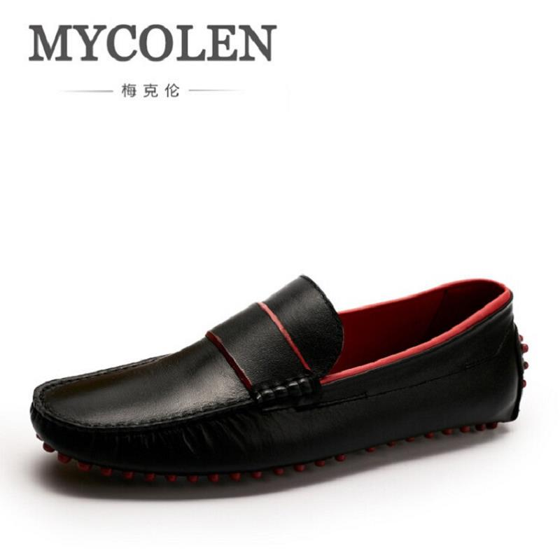 MYCOLEN Luxury Fashion Red Bottom Moccasins Men Loafers Genuine Leather Men Flats Comfort Driving Shoes Casual Black Loafers mycolen spring autumn men loafers genuine leather casual men shoes fashion crocodile pattern driving shoes moccasins flats