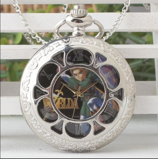 New Fashion Quartz White Steel Silver Flip Clock Pendant Legend Of Zelda Game Link Necklace Pocket Watches
