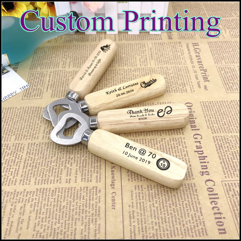 100pcs Lot FREE SHIPPING Customized Wedding Favors Bottle Opener Printing Name Date on the Wood