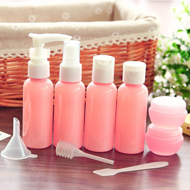 Image 3 - Refillable Travel Bottles Set Package Cosmetics Bottles Plastic Pressing Spray Bottle Makeup Tools Kit For Travel Vaporizer-in Refillable Bottles from Beauty & Health