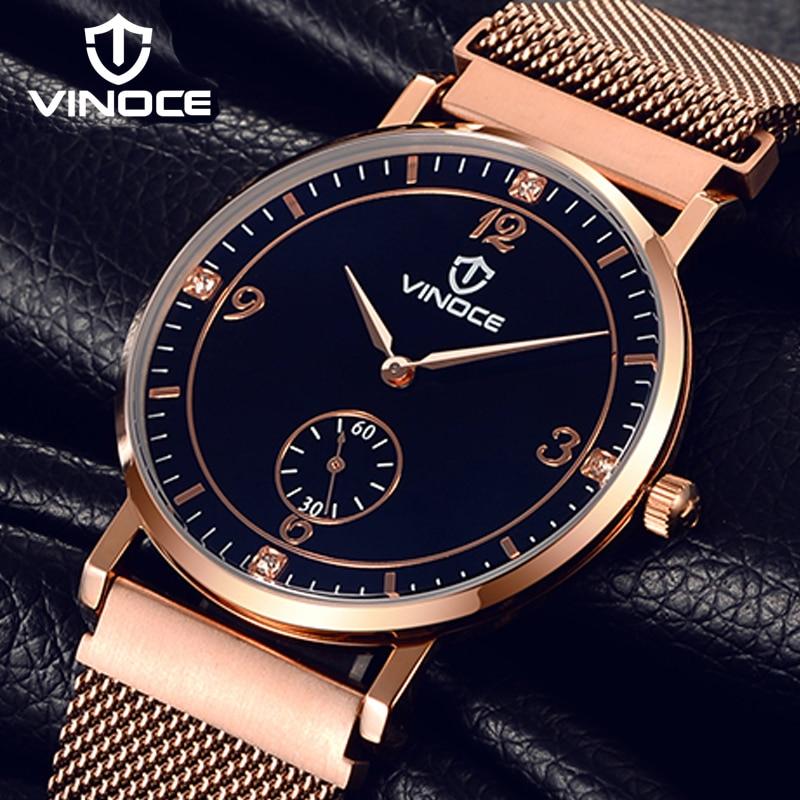 VINOCE Ultra Thin Mens Watches Top Brand Luxury Rose Gold Stainless Steel Watch Quartz Wristwatch 2019