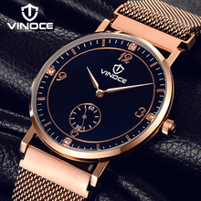 цены VINOCE Mens Watches Top Brand Luxury Ultra-thin Stainless Steel Band Watch Men Fashion Clock Men Gold Relogio Masculino V6275GT