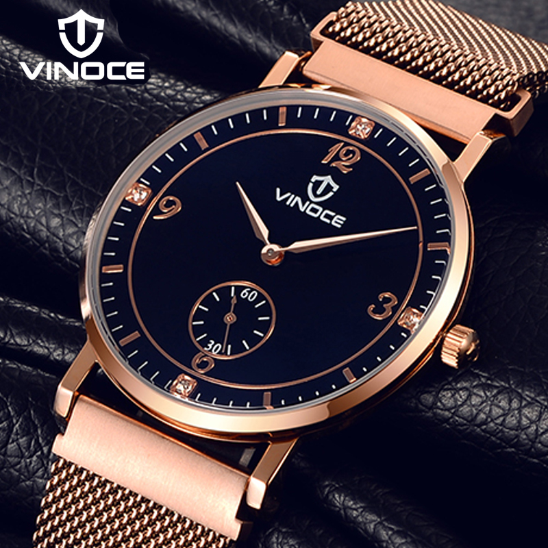 VINOCE Ultra-thin Stainless Steel Mens Watches Top Brand Luxury Band Watch Men Fashion Clock Men Gold Relogio Masculino V6275GT splendid hcandice mens sports watches men s fashion mechanical stainless steel watch gold relogio masculino clock hombre